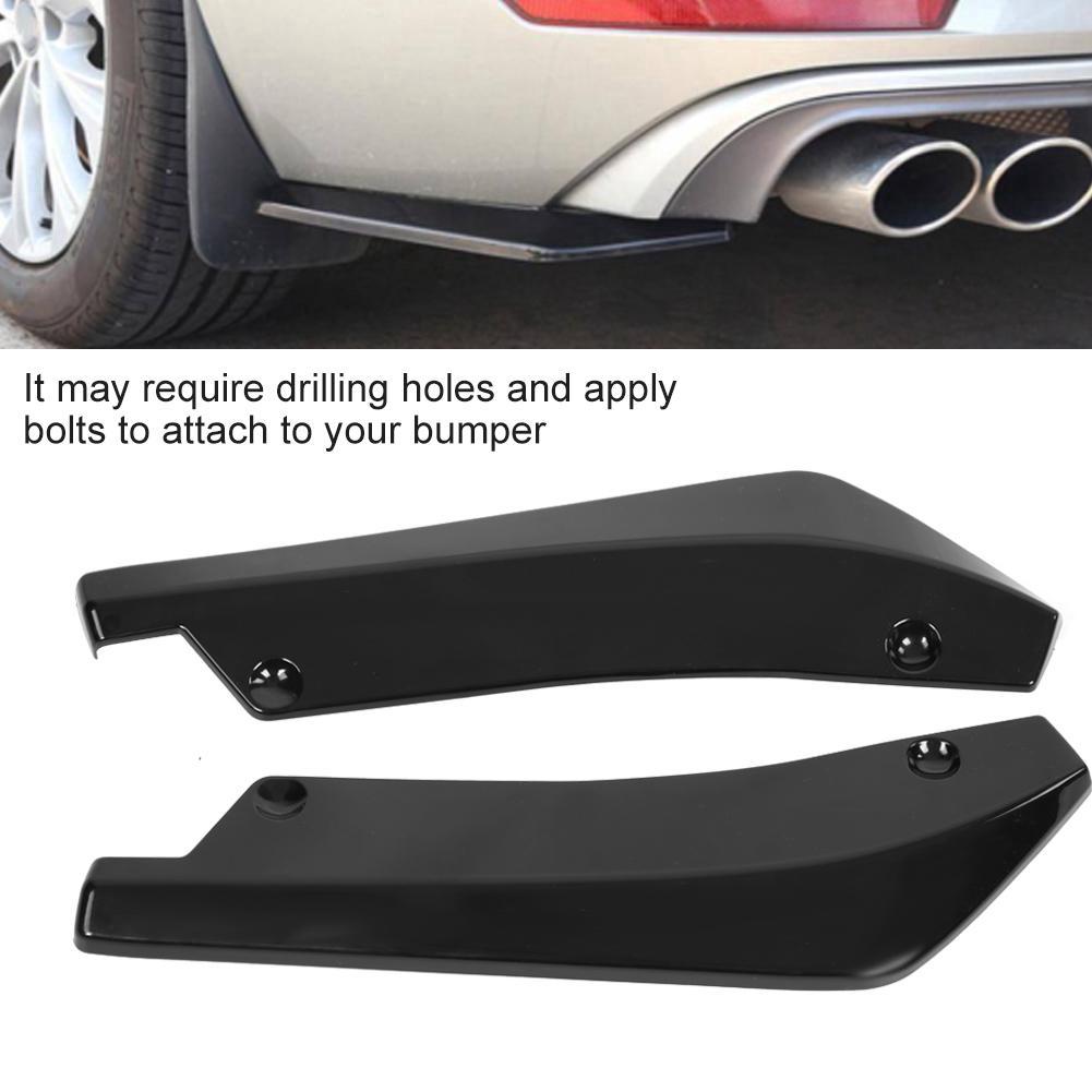 3 Pcs Black Auto Car Rear Bumper Diffuser Molding Shark Fin Spoiler Anti-crash