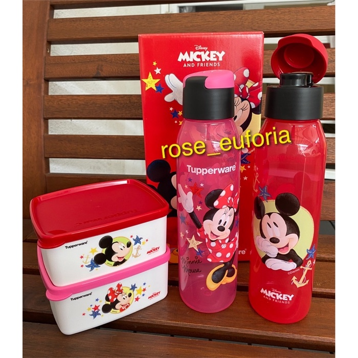 Tupperware Mickey Minnie Eco Bottle 500ml (2) Snack Box 400ml (2) Unicorn Collection Eco Bottle 750ml snack box 400ml