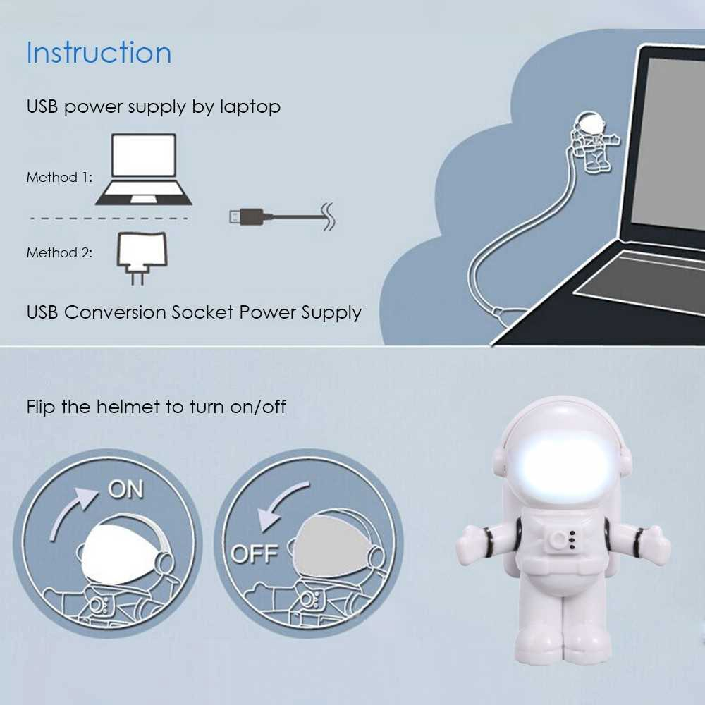 Spaceman Astronaut Shape LED Mini Night Light Keyboard Lamp USB Charging Port Design Flexible Bendable Hose Portable f