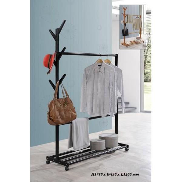 [READY STOCK] 120cm Modern RUBBER WOOD Clothes Rack Multi-function Coat  Hanger