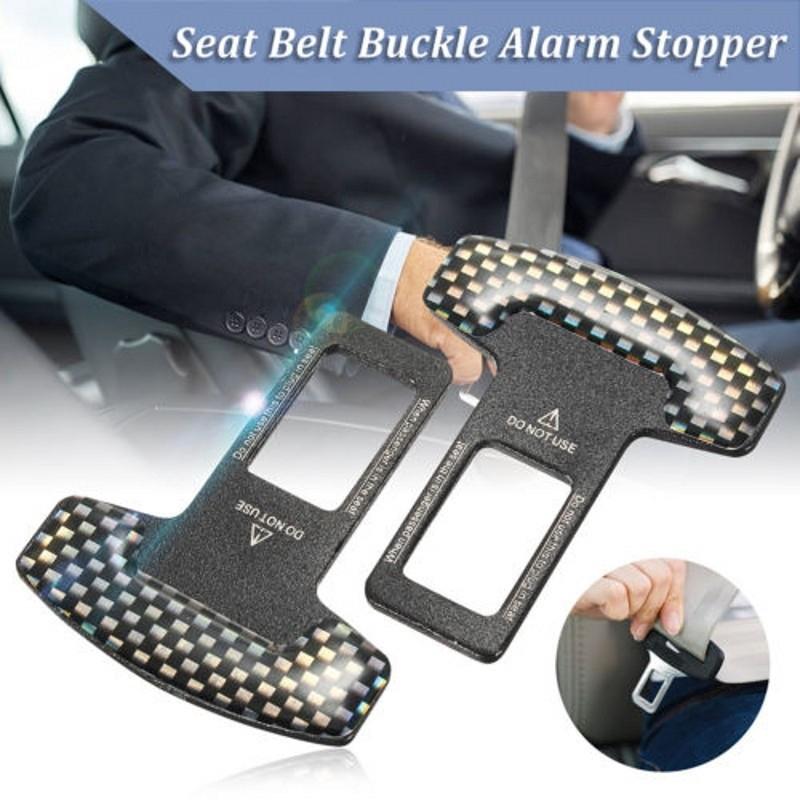 2Pcs Universal Car Safety Seat Belt Buckle Alarm Stopper Clip Stop  Carbon Fiber