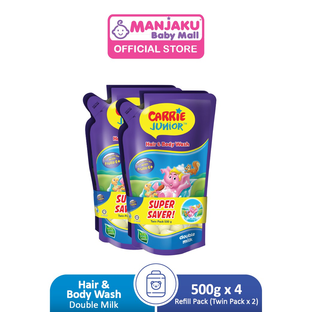 Carrie Junior Baby Hair & Body Wash Refill Twin Packs x 2 (500g x 4) - Double Milk