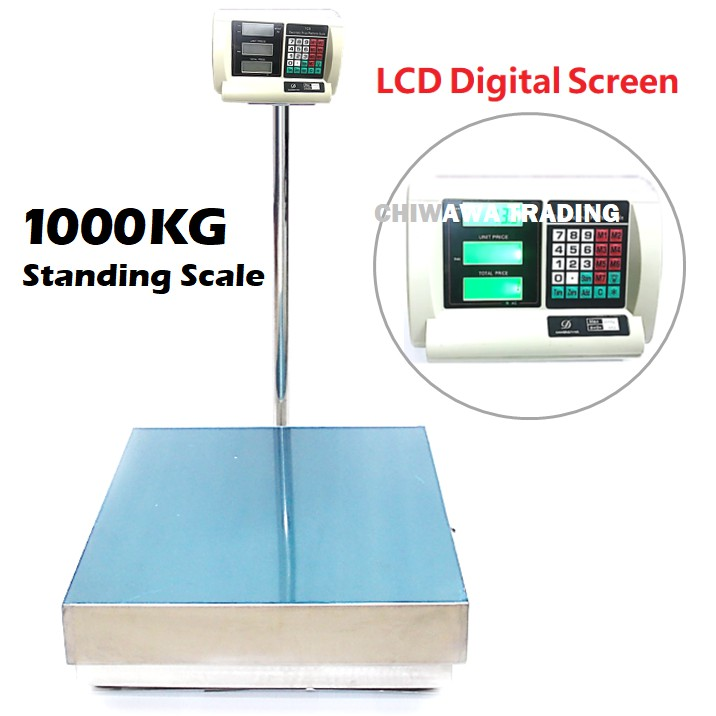 【Malaysia Plug】Rechargeable Electronic 800kg / 1000kg Digital Price Computing Counting Weighing Standing Scale / Skala