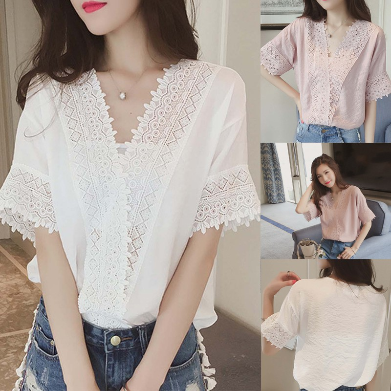 03b9dc4124dd74 Korean Style Loose Lace Blouse Shirt Plain Cutout V-neck Chiffon Top ...