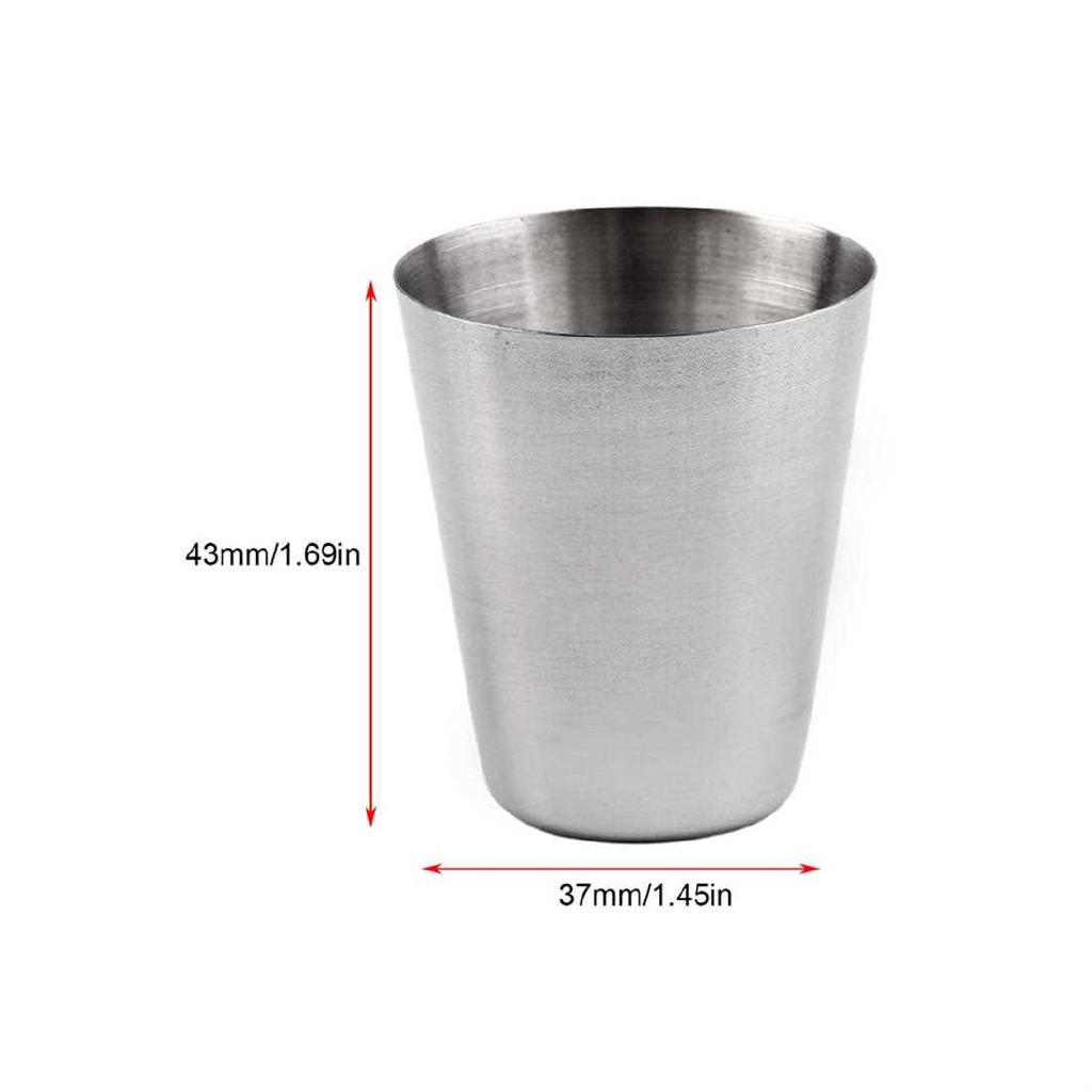 Set of 4 Stainless Steel Camping Cup Mug Drinking Coffee Tea With Case (Standard)