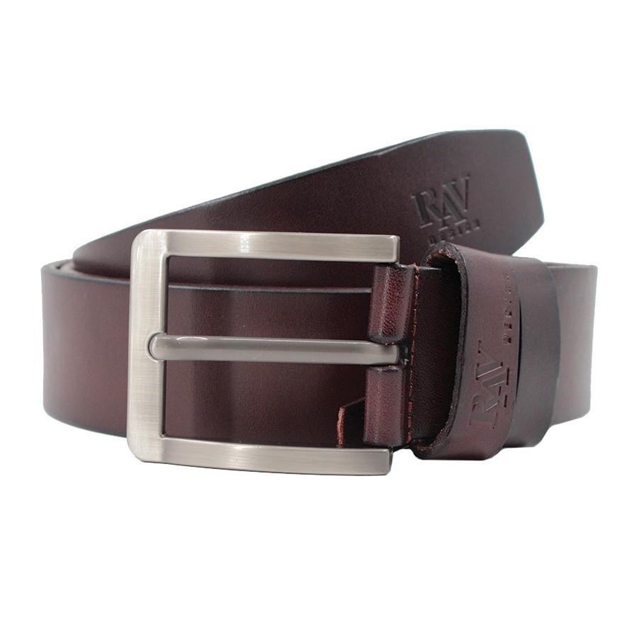 Rav Design Men's 100% Genuine Cow Leather 40mm Glossy Pin Buckle Belt Brown |RVB578G1