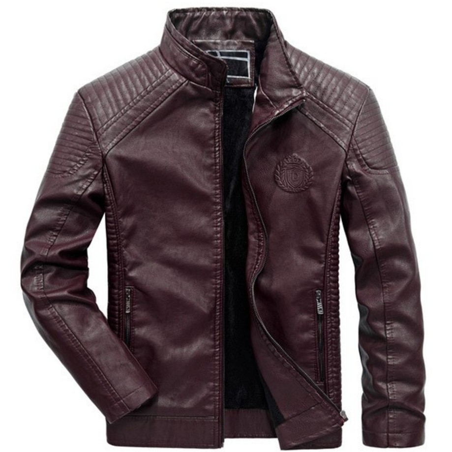 Rrive Mens Classic Faux Leather Stand Collar Motorcycle Biker Bomber Jacket
