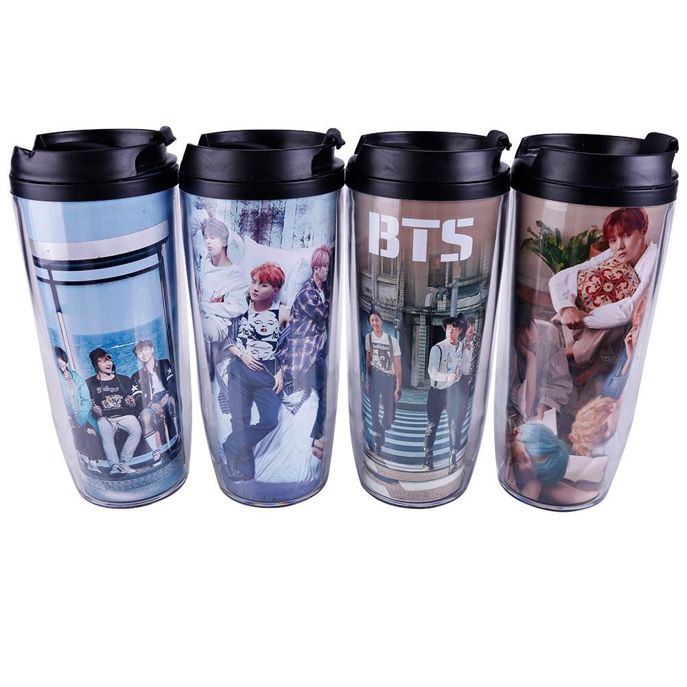 USA KPOP BTS Water Bottle Wings Gradient Frosted Bangtan Boys J-Hope Drink Cups