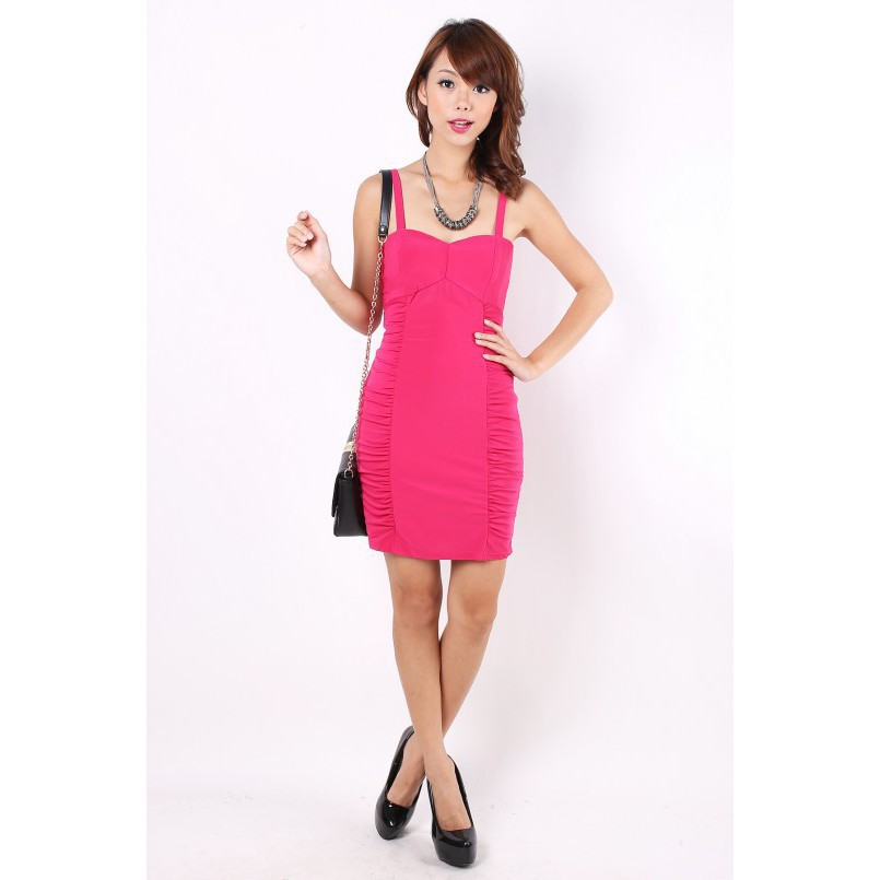 63134f83510 MGP Label Beatrice Ruche Dress in Hot Pink