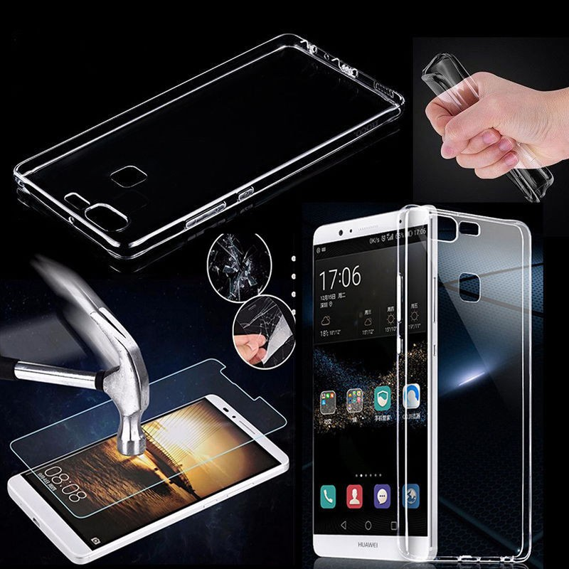 For Huawei Tempered Glass + Ultra Case Thin Transparent Soft TPU back Cover  Skin