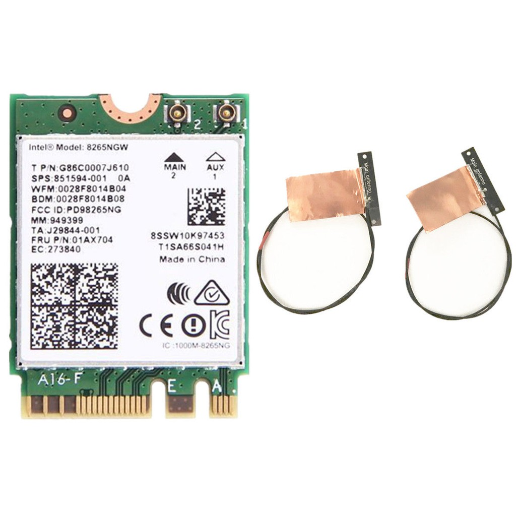 Dual Band Antennas+ Intel Wireless-AC 8265NGW NGFF 867M Wifi Bluetooth 4 2  Card