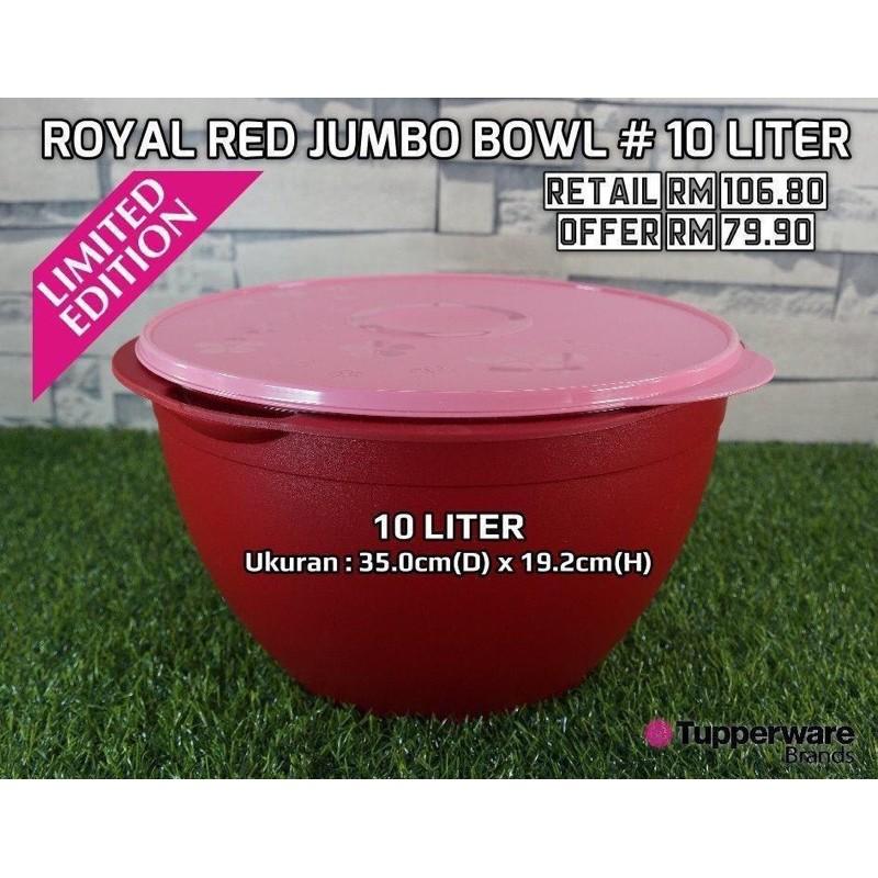 Tupperware Jumbo Bowl Royal Red