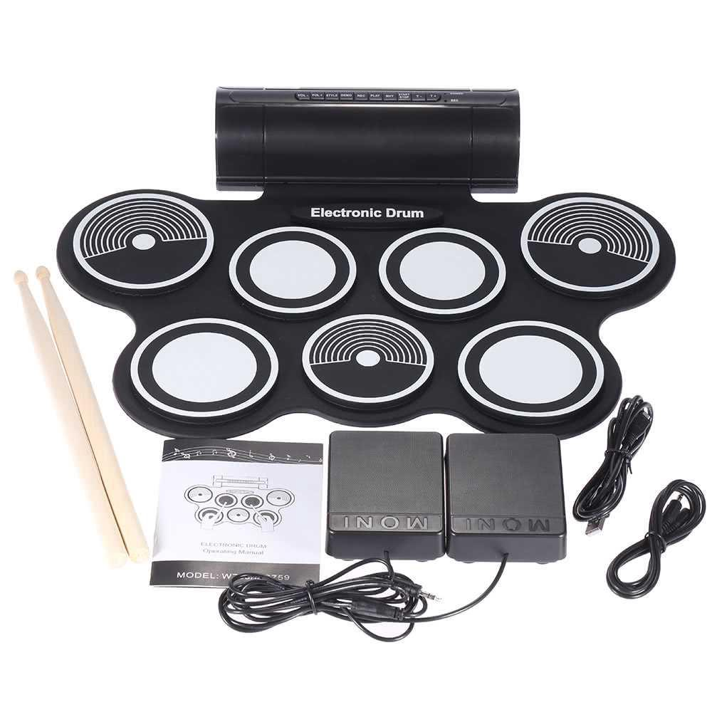 Portable Foldable Silicone Electronic Drum Pad Kit Digital USB MIDI
