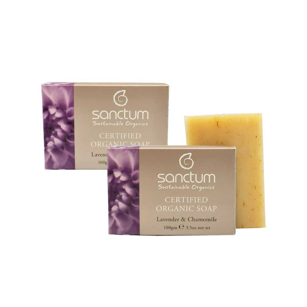 SANCTUM DOUBLE ORGANIC LAVENDER BODY SOAP SET- (2) Lavender & Chamomile Body Soap 100g For Daily Mild Exfoliation