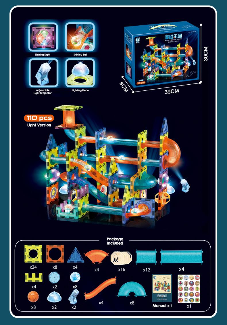 Kids 3D Magnetic Light Version Sheet Tube Track Magnets Building Blocks Pipe Marble Run Kids Toy Mainan Budak Magnet