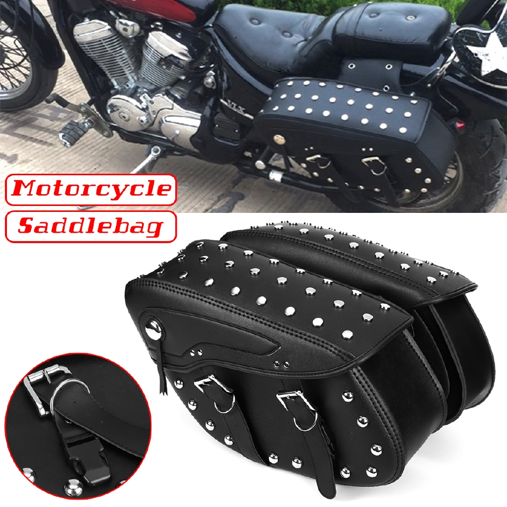 Motorcycle Saddle Bags Side Bags Saddlebags Softail PU Leather for Harley Sportster Waterproof