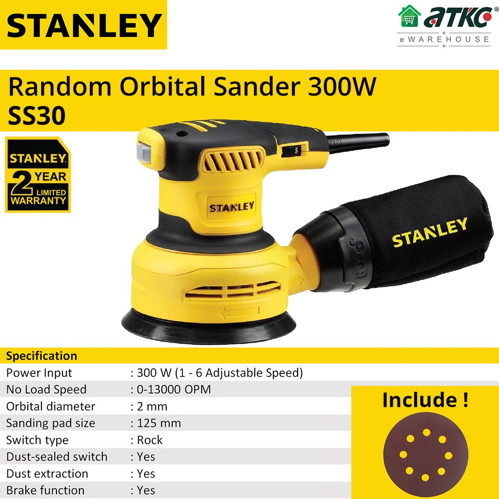 STANLEY SS30 Random Orbital Sander 125MM With Adjustable Speed 300W (2 YEARS WARRANTY)