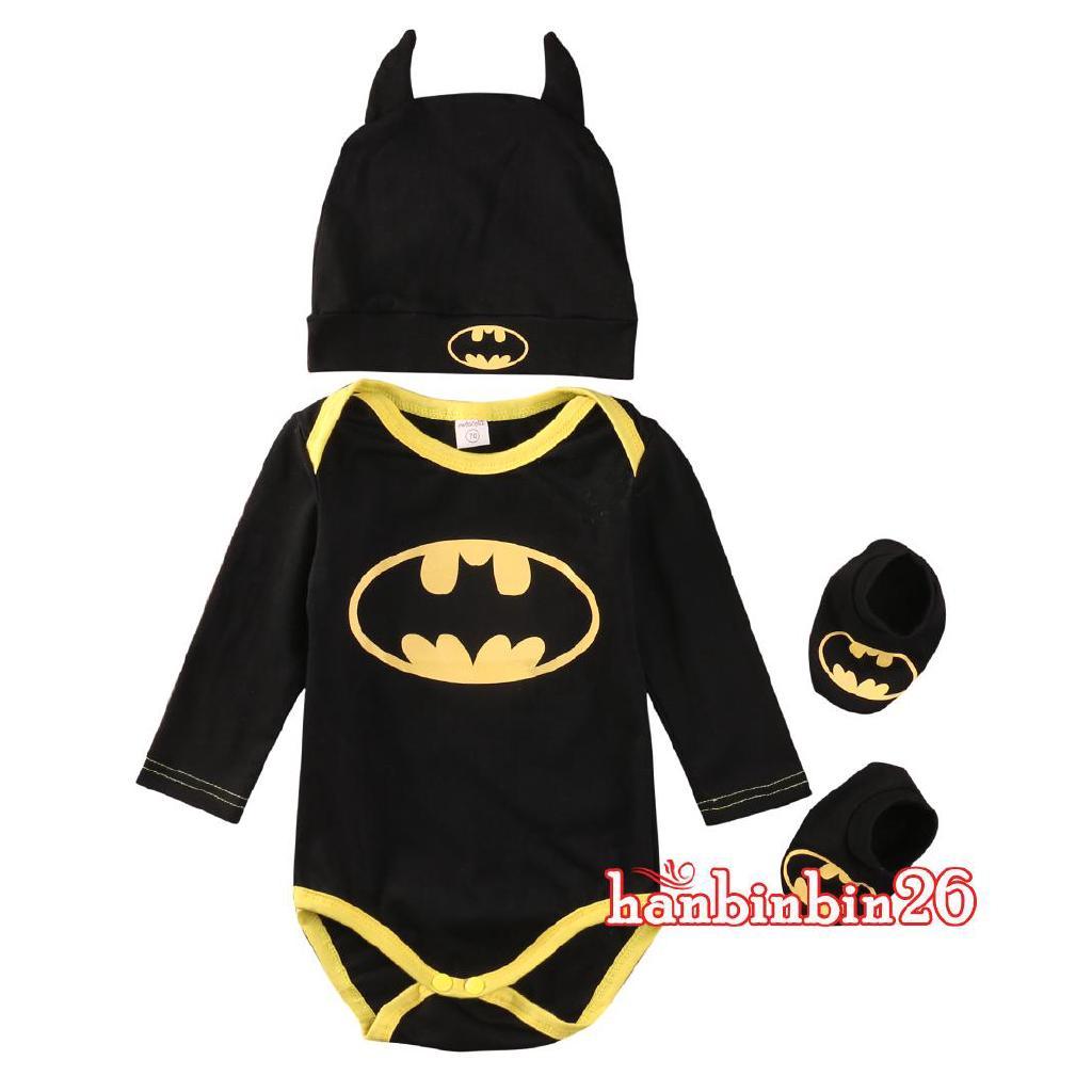 7355c6454 ♕-3Pcs Newborn Infant Baby Boys Batman Rompers+Shoes+Hat Outfits ...