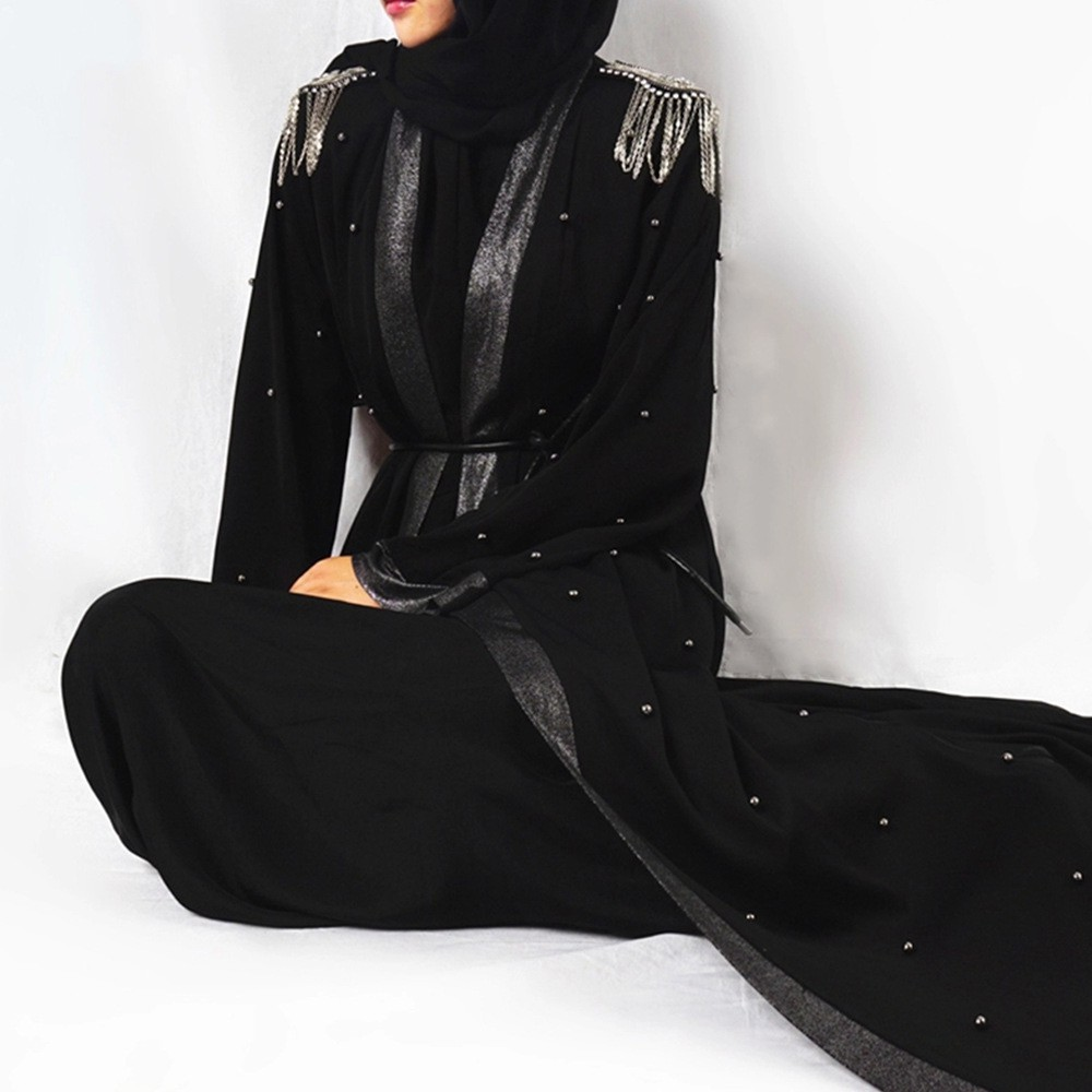 Muslim Women S Outerwea Cardigan Robe Pendant Coat Beaded Epaulette Sunscreen Coat Windbreaker Black Cloak Shopee Malaysia