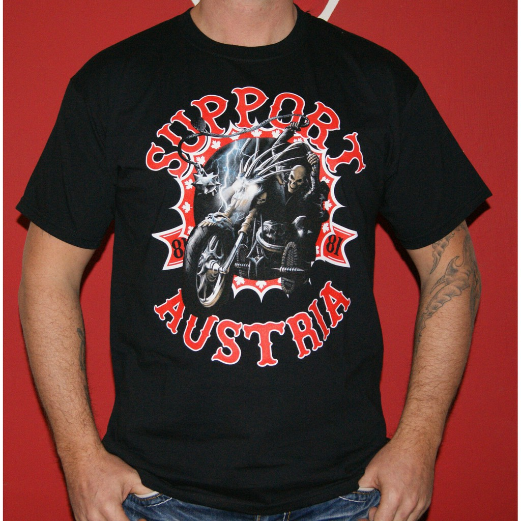 Hells Angels Support 81 Austria T-Shirt Big Red Machine Birthday Gift Black