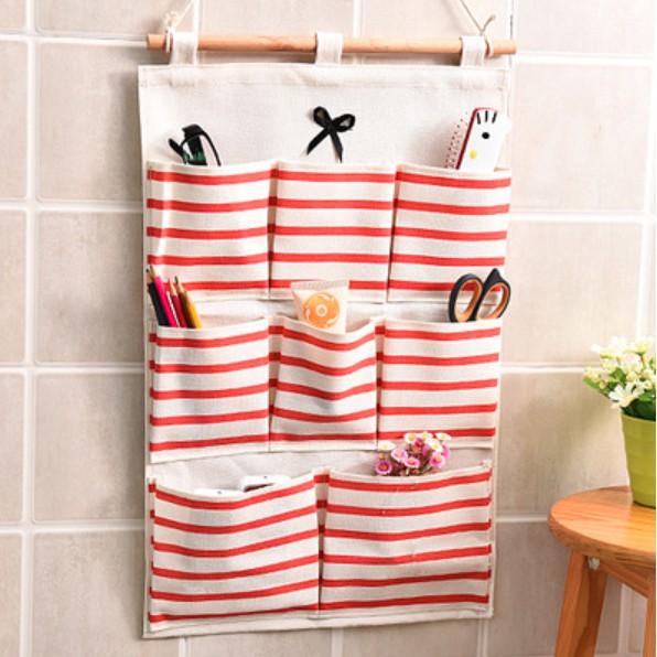 Three-layer Grid Hanging Storage Bag Cotton Storage 8-Pocket Organizer Bag