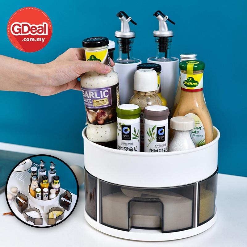 GDeal 360 Degree Rotating Odorless Seasoning Storage Box Kitchen Space Saving Organizer Tray