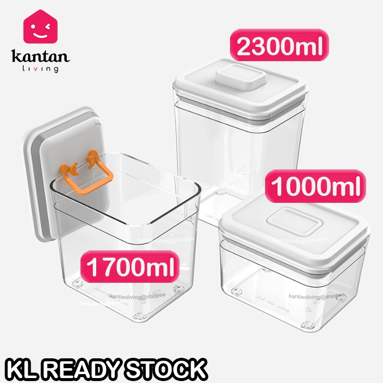 🔥Push Lock Milk Powder Container Portable One Hand 🔥 - Rectangle (1000ml/1700ml/2300ml)