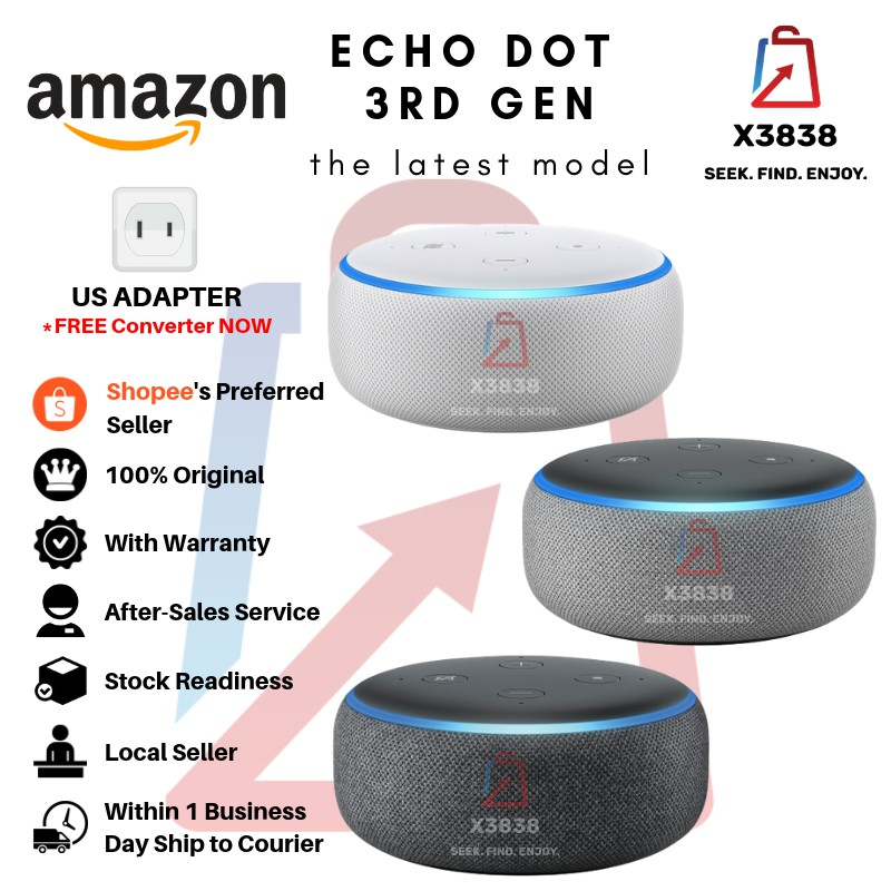 Genuine Amazon Echo Dot 3rd Generation Smart Speaker with Alexa (2018  Release, Latest Model)