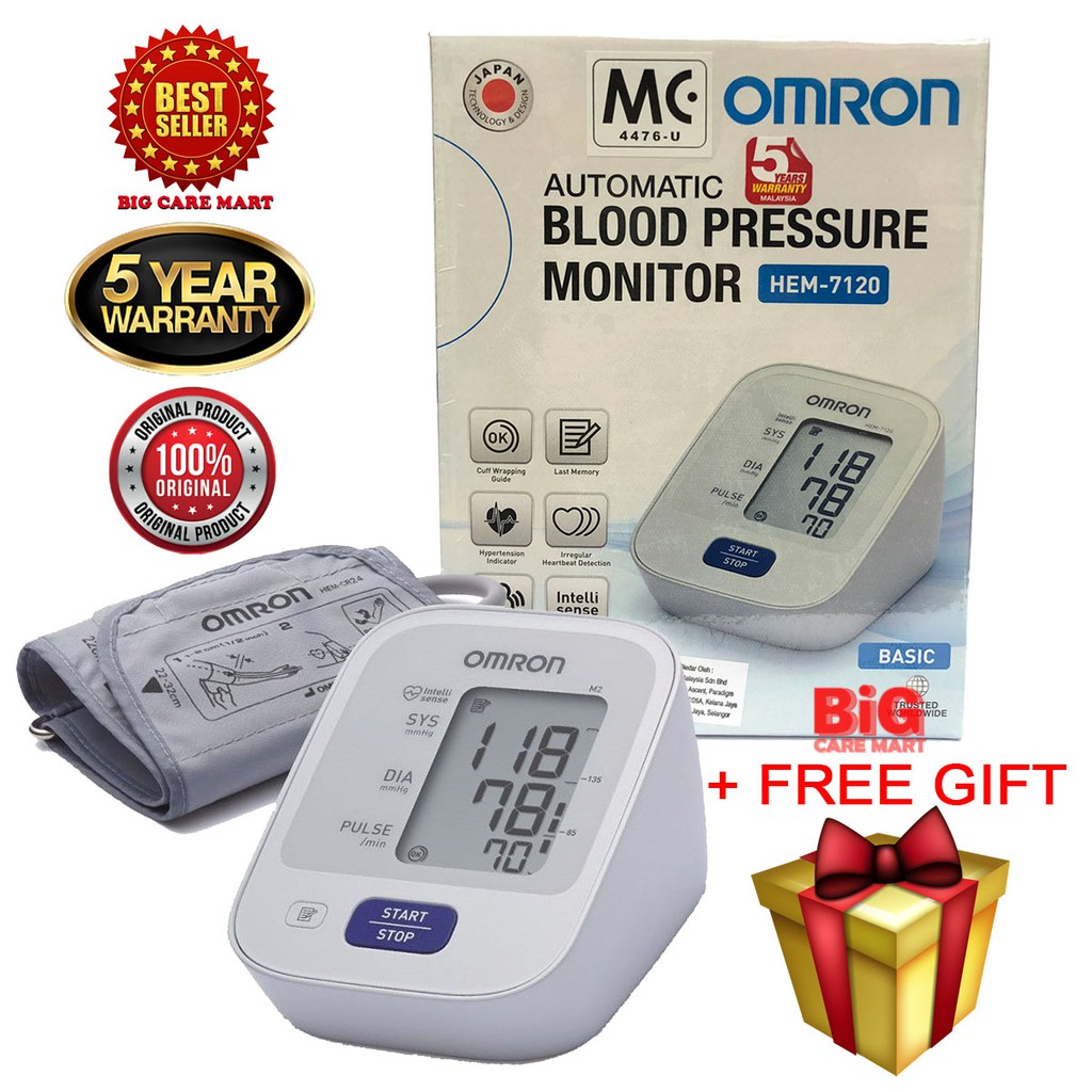 Omron Automatic Blood Pressure Monitor HEM 7120 [Free Gift]