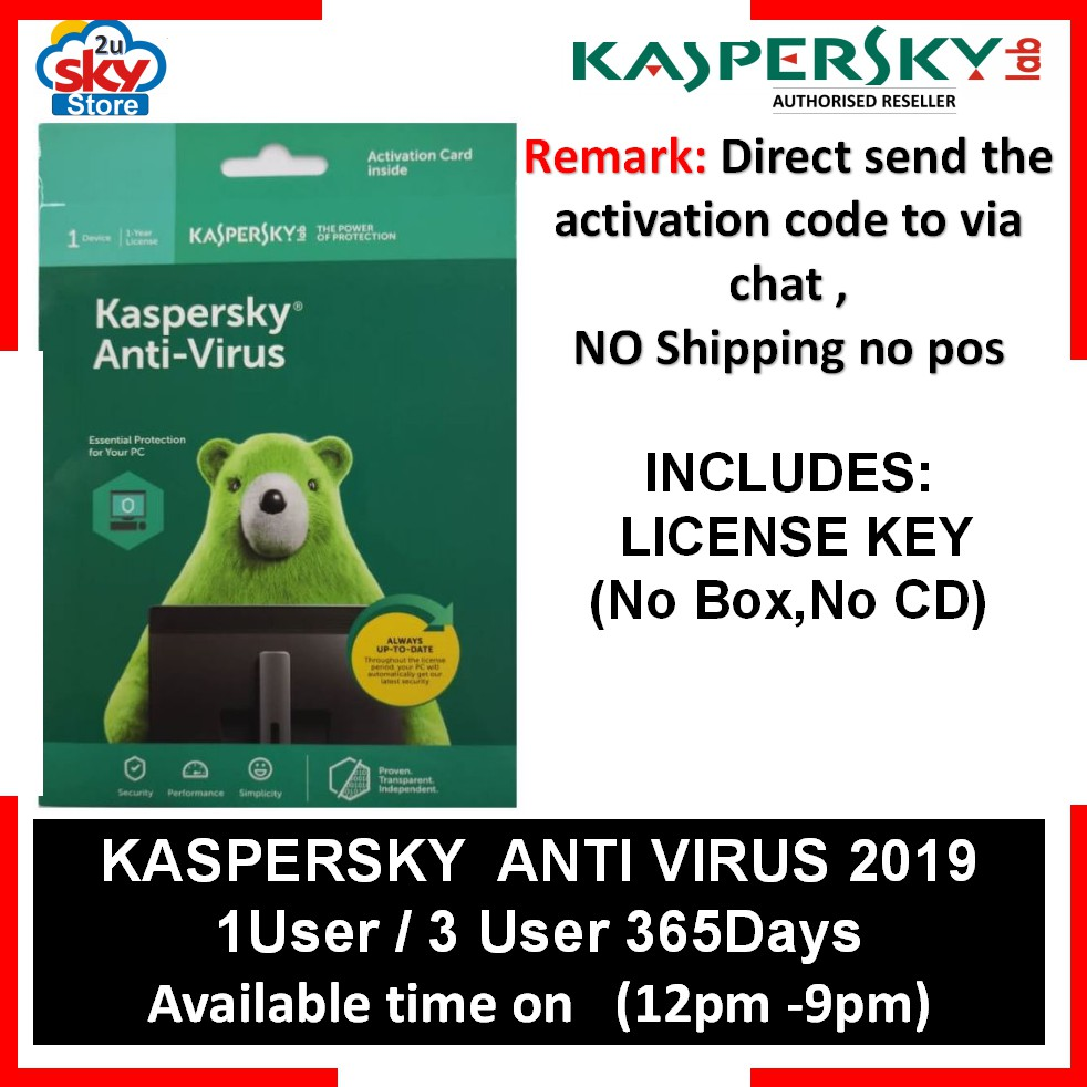 KASPERSKY ANTI-VIRUS 365Days (Send by chat activation Code