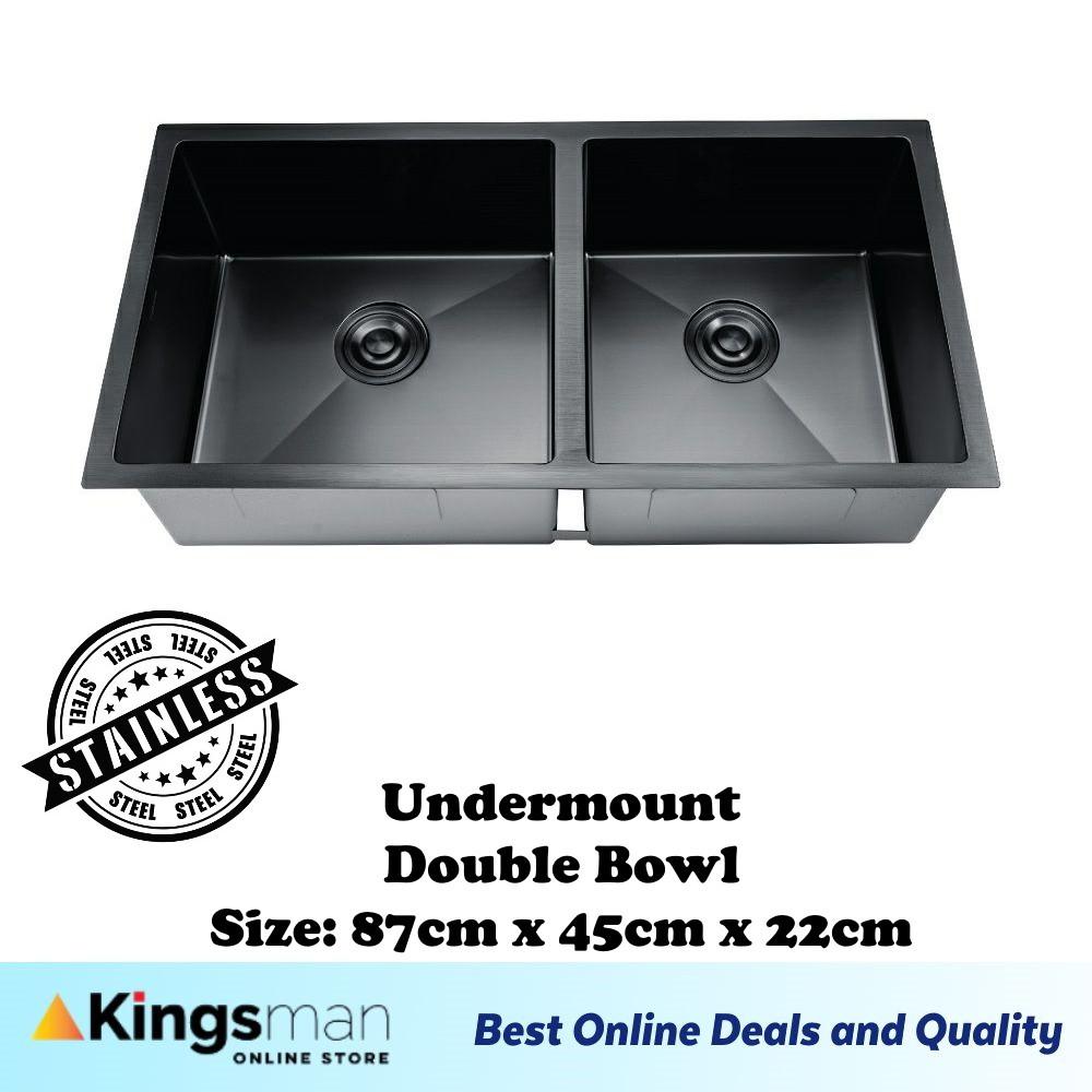 [Kingsman] Matt Black Premium 304 Stainless Steel Top mount / Undermount Double Bowl Kitchen Sink Basin