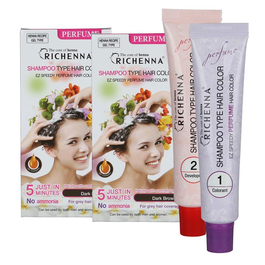 Richenna Perfumed Hair Dye Shampoo Type Hair Color Ez Speedy