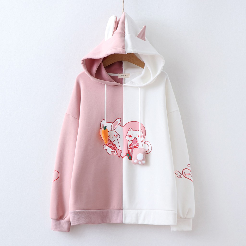 Japanese Hoodie Pink Rabbit Animal Ear Hoodie Thick Jacket Cute Cat Ear