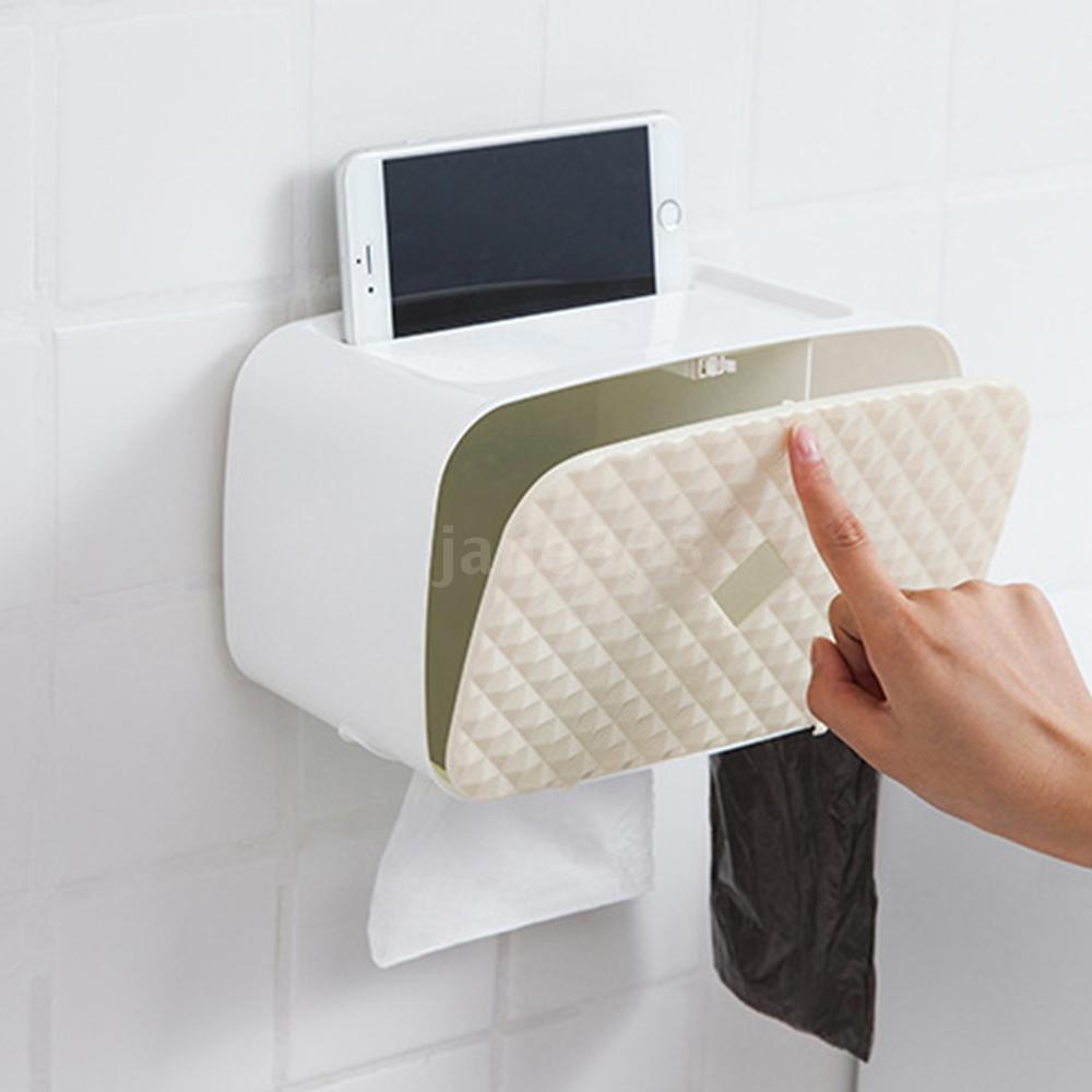 Decdeal Paper Towel Dispenser Wall Mounted No-drilling Paper Towel Holder Dispenser Bathroom Toilet Tissue Dispenser Garbage Bags Dispenser Home Kitchen Paper Extraction Dispenser