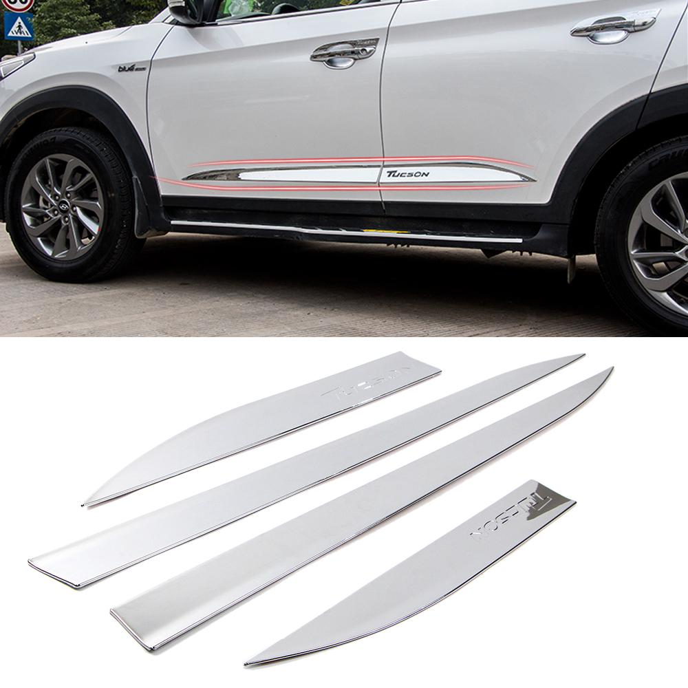 Dreamseek For Hyundai Tuscon 2016 2017 2018 Door Body Side Line Cover Molding Trim Exterior Styling Chrome Strip Protected Guard