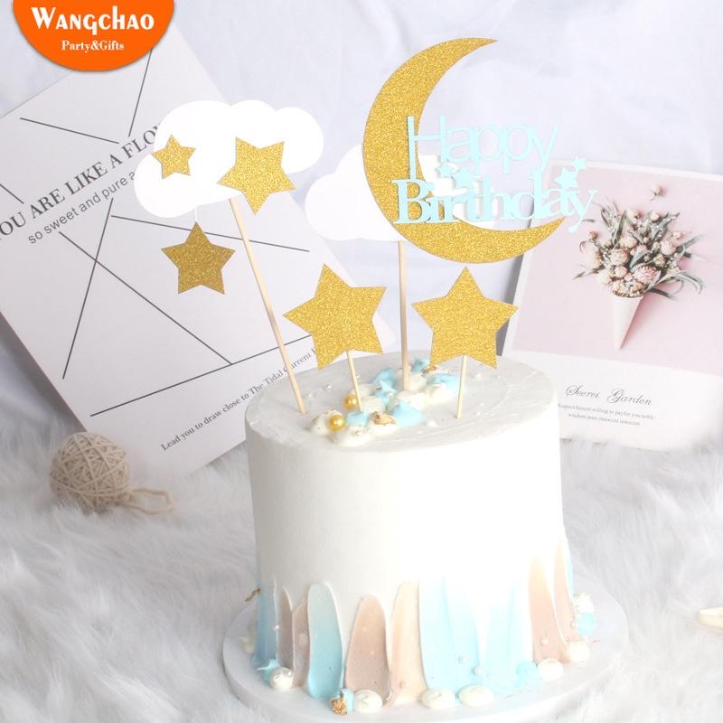 Prime 1Set Twinkle Twinkle Little Star Moon Cloud Cake Topper Kids Happy Personalised Birthday Cards Veneteletsinfo