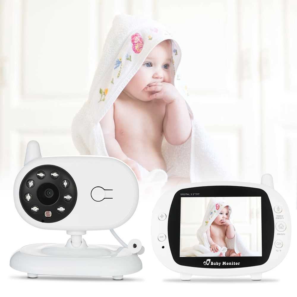 Video Baby Monitor Baby Security Camera With 3.5\' TFT LCD 2 Way Talkback 2.4GHz Digital Infrared Night Vision Temperat