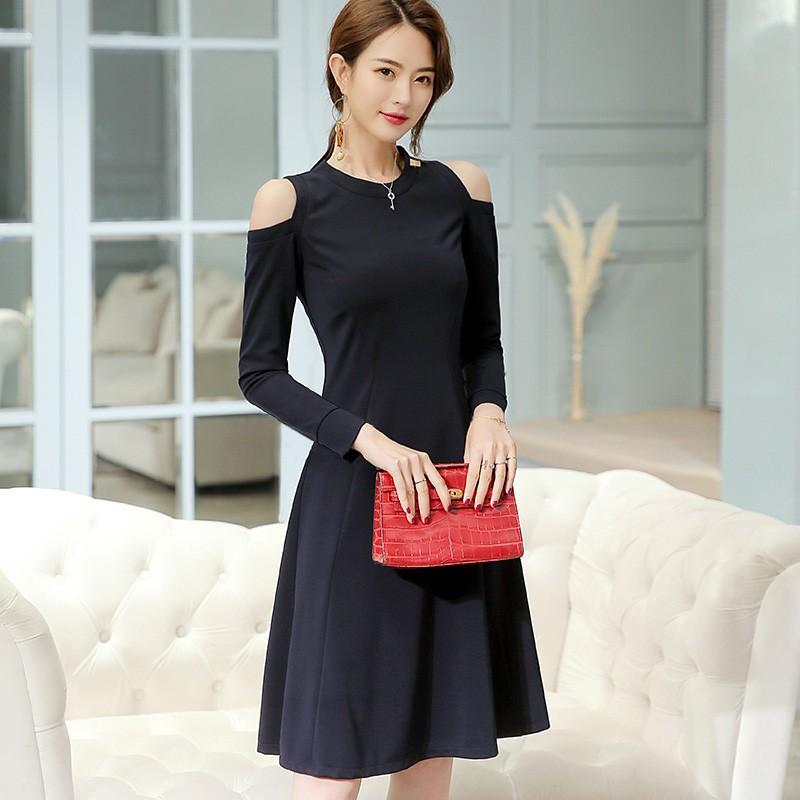 502ed003f2ba Decent Navy Blue Midi Maxi Dress Slim Soft Comfortable for Lady Girl ...