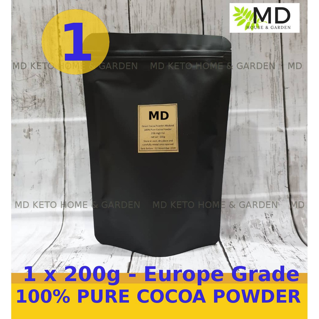 1 x 200g [ European Grade ] 23% High Fat 100% Pure Cocoa Powder -The Finest  Royal Dutch Cocoa Powders - KETO, LOW CARB