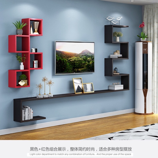 Wall Rack Modern Minimalist Wall Mounted Tv Cabinet Living Room Wall Decoration Shopee Malaysia
