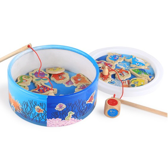 Early Learning Wooden Magnetic Fishing Toy Set with 2 Fishing Rod