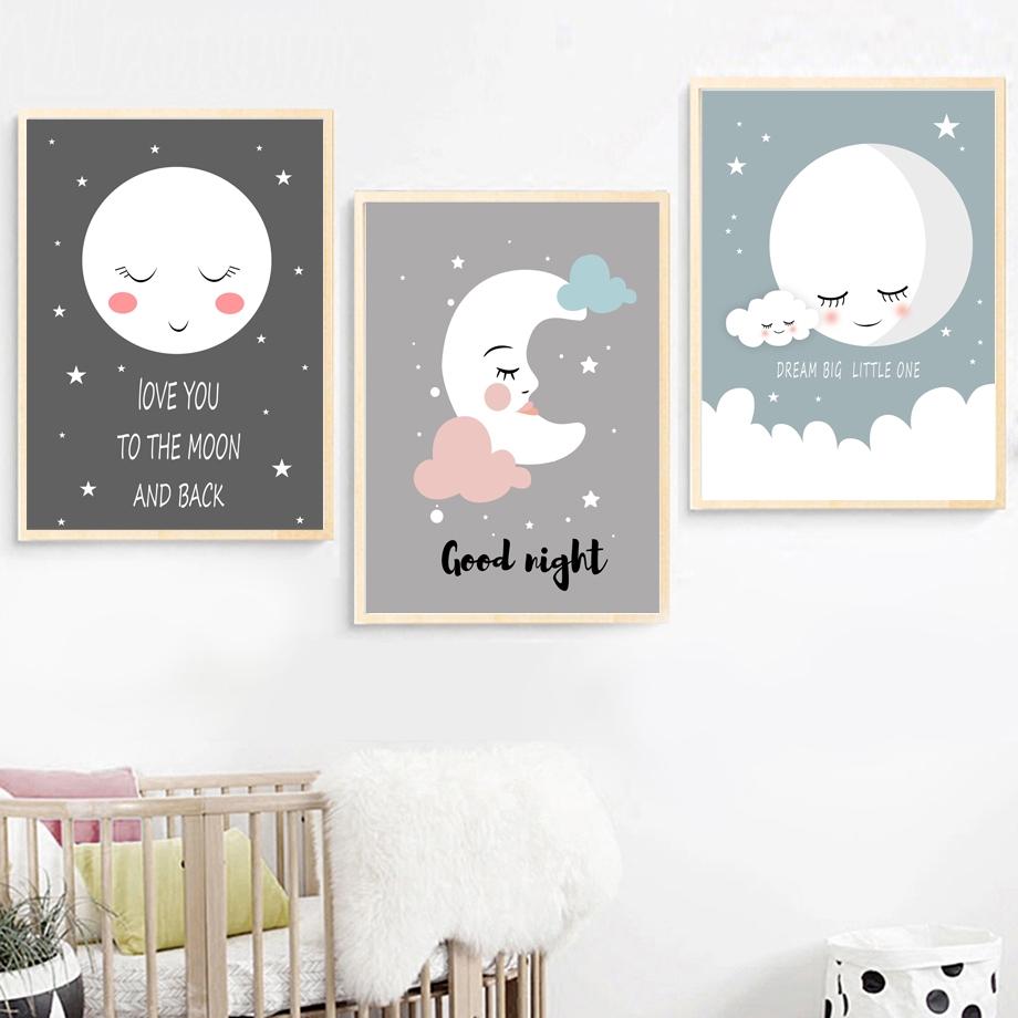 Nordic Cartoon Animal Canvas Poster Kids Room Nursery Hanging Wall Art Painting