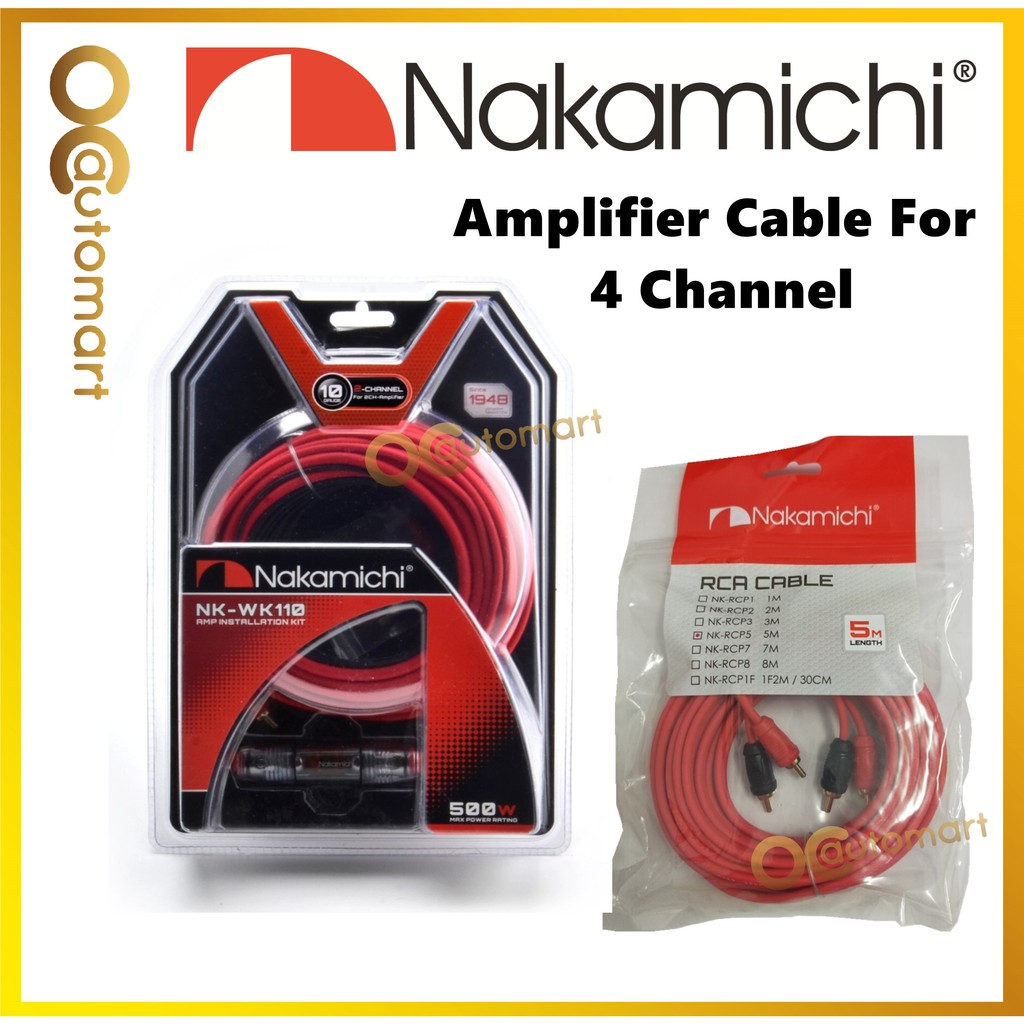 NAKAMICHI 4 Channel NK-WK110 With NK-RCP5 5 Meter RCA 10GA Wiring Kit Amplifier Cable Set For 4 Channel Amplifier