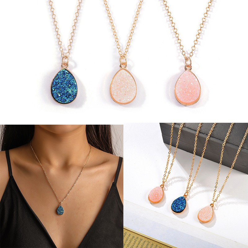 Simple Scrub Crystal Water Drop Necklace Pendant For Women Jewelry
