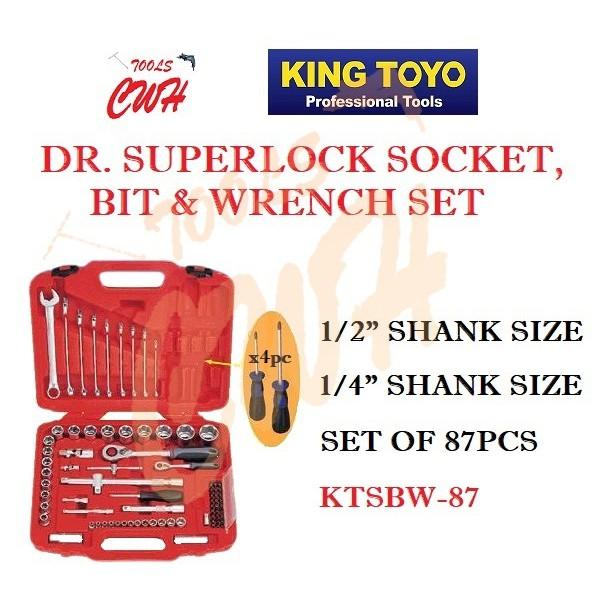 """KING TOYO KTSBW-87 1/2"""" 1/4"""" 87PCS DR. SUPER LOCK SOCKET, BIT & WRENCH SET"""