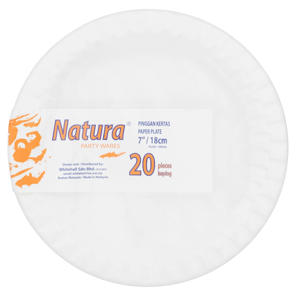 "Natura Party Wares White Paper Plate 7"" / 18cm 20Pcs"