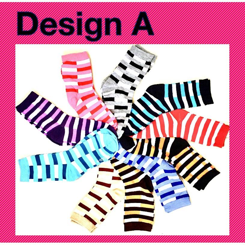 Stylish Women Girl Long Cotton Socks Creative Liner Design