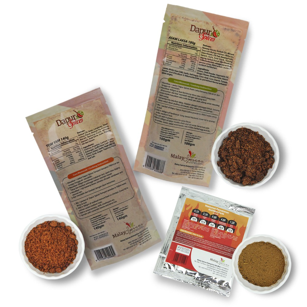 [Pack of 3]Asam Laksa Powder + Tomyam powder + Black Pepper Seasoning Mix