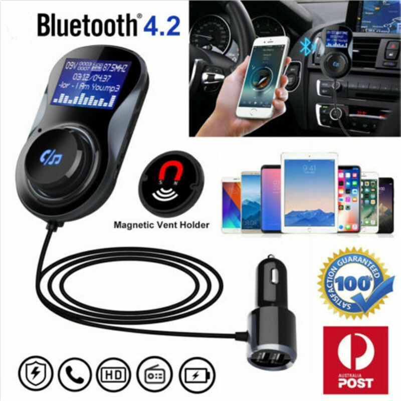 Bluetooth Handfree Car Kit FM Transmitter Radio MP3 Player Dual USB Charge  Port
