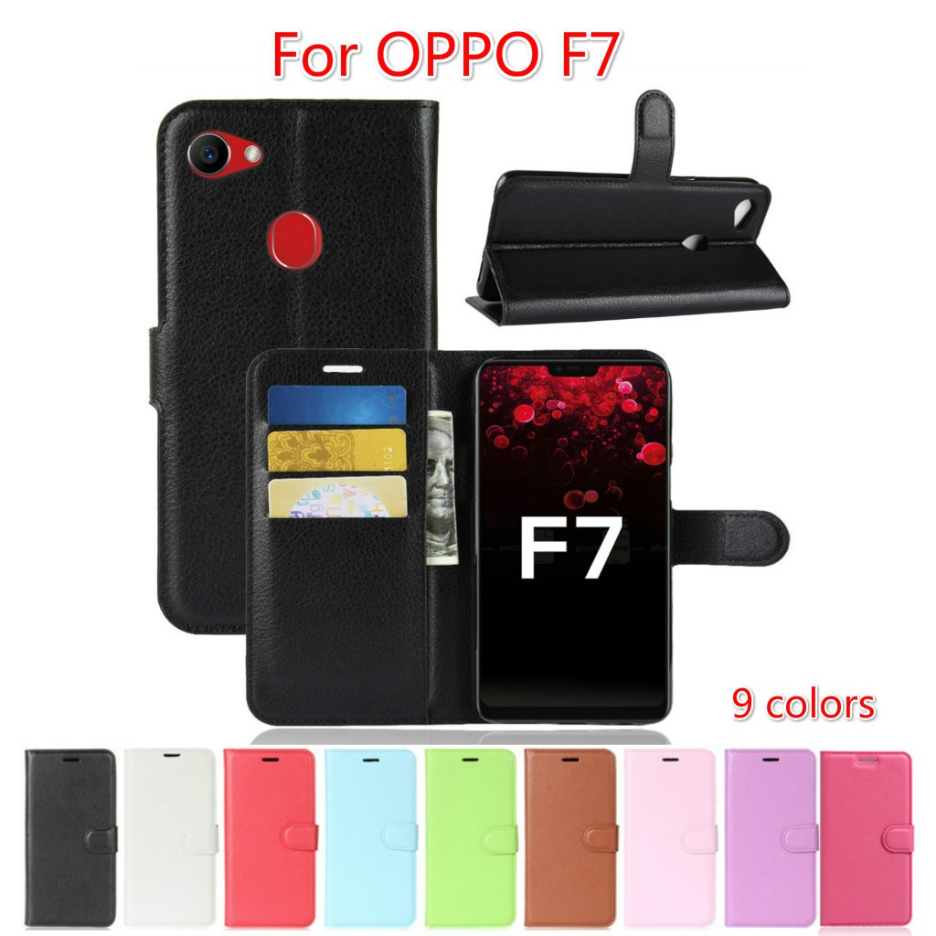 quality design a3c78 48a40 OPPO F7 F5 Flip Wallet Leather Case With Card Slot Holder